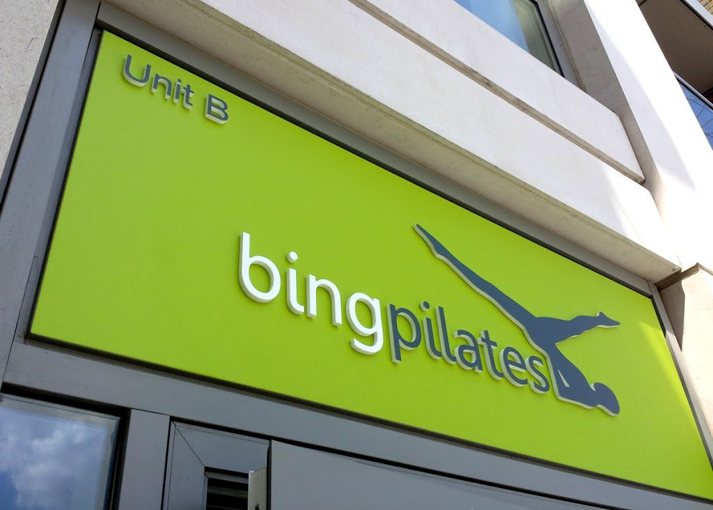 Shop front signage for BING PILATES in Hammersmith – London