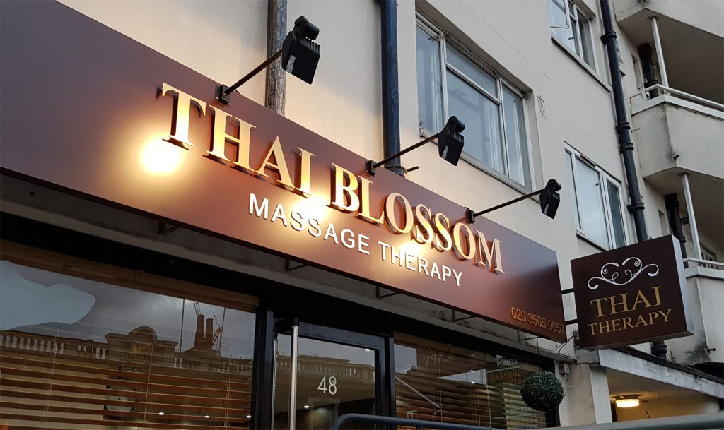 THAI BLOSSOM beauty salon Fascia sign board with lighting and double sided Projecting Signs in London.