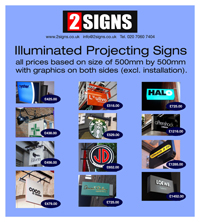 projecting signs illuminated